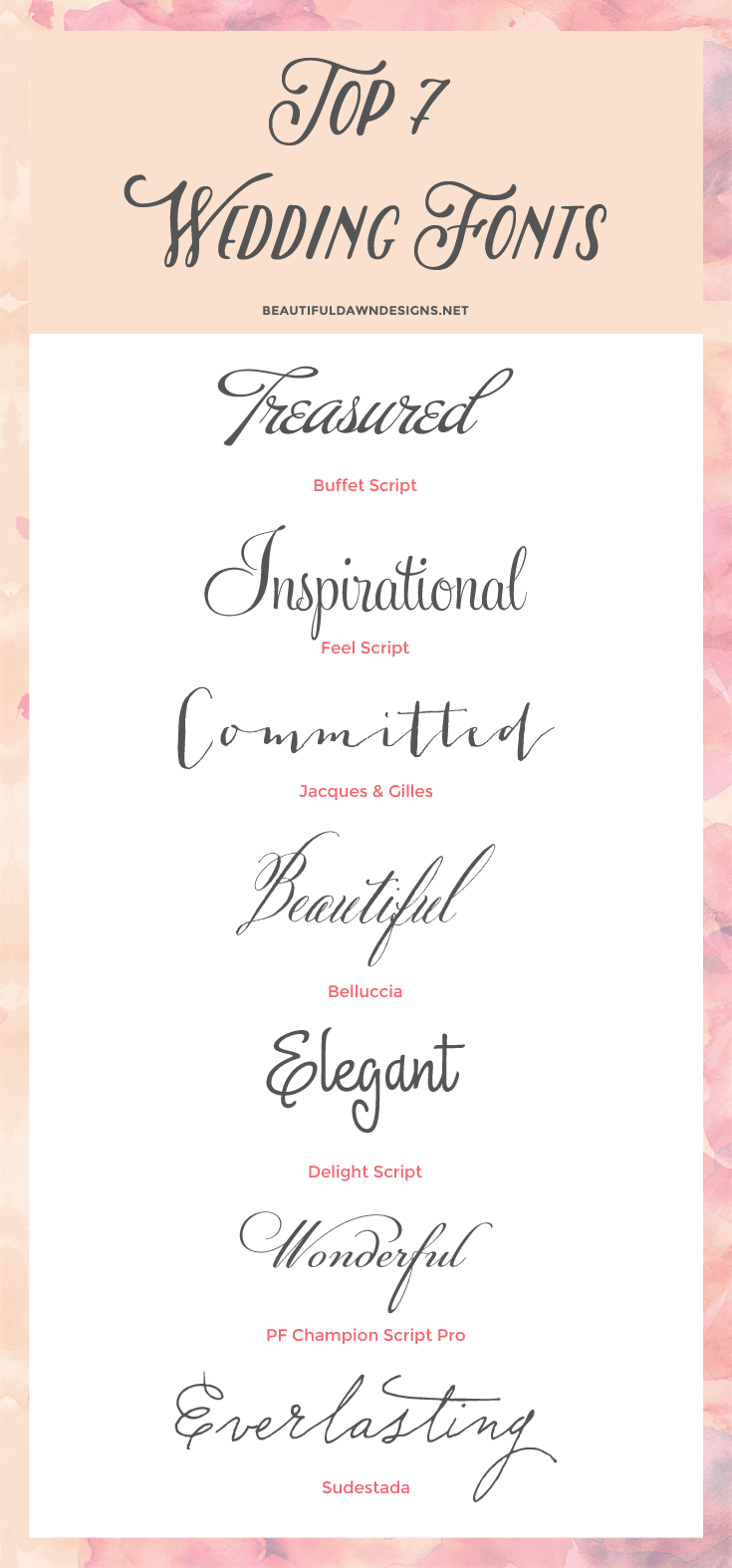 A roundup of fonts for weddings.