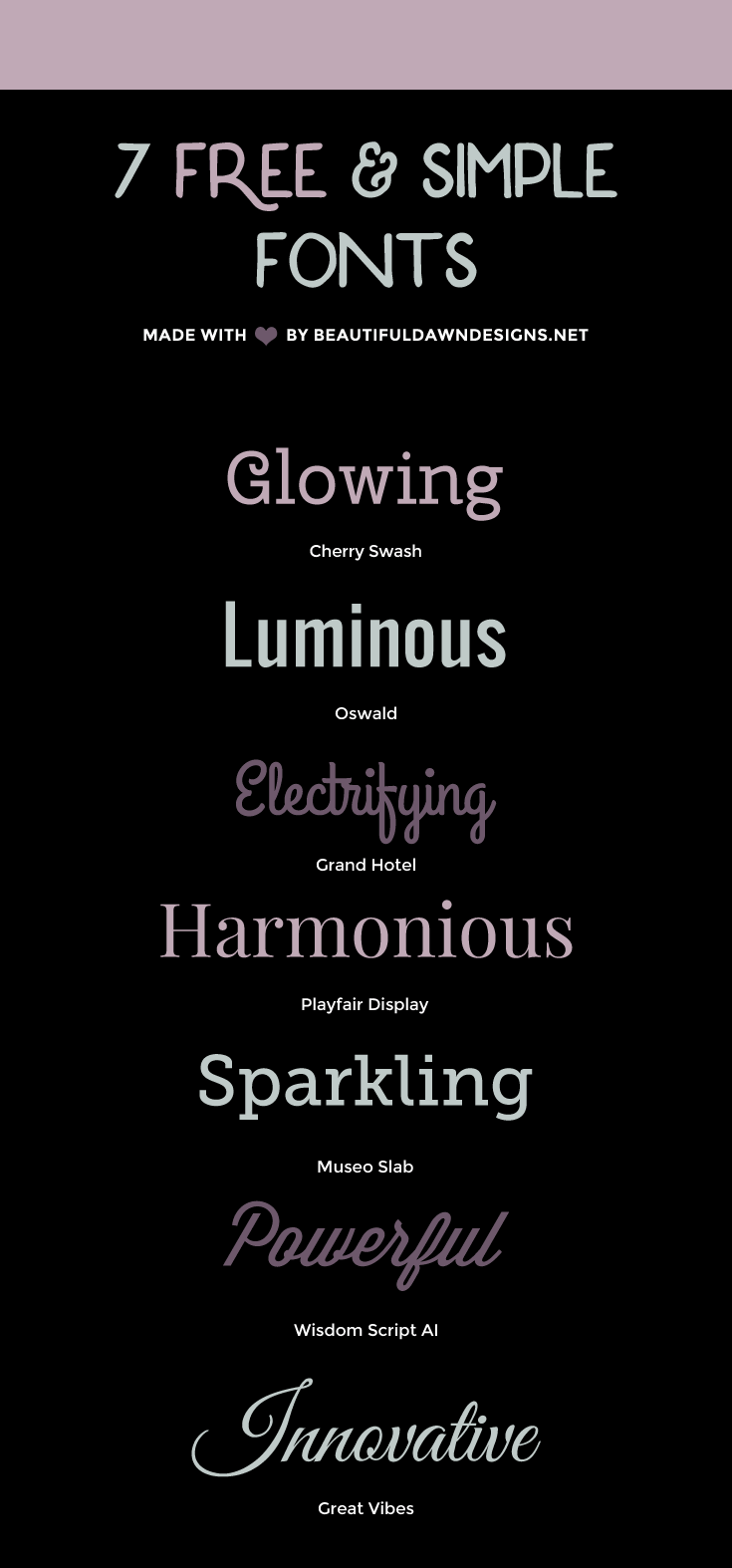 A roundup of 7 simple and free fonts.