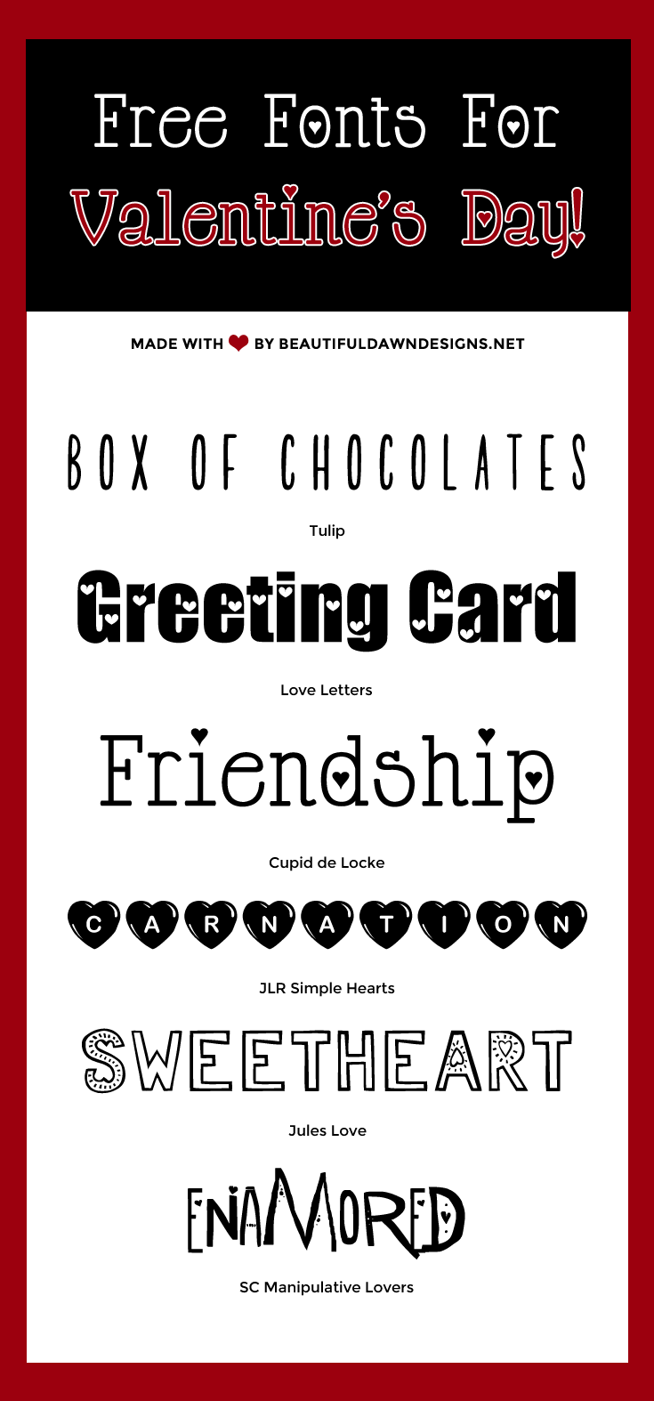 free valentines day fonts
