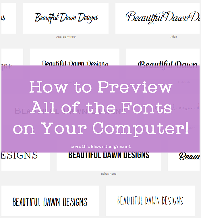 Preview fonts on computer. This simple online tool will save you so much time and frustration when searching for that perfect font for your project.