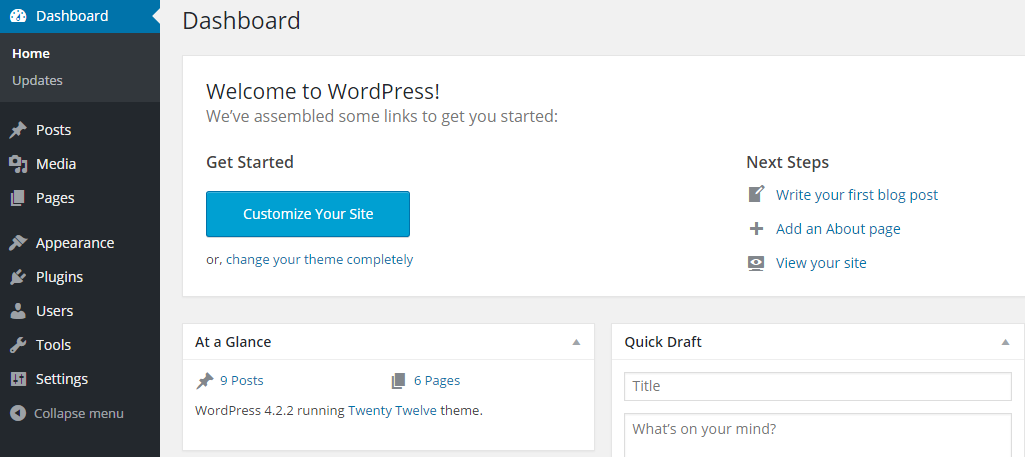 WordPress dashboard preview