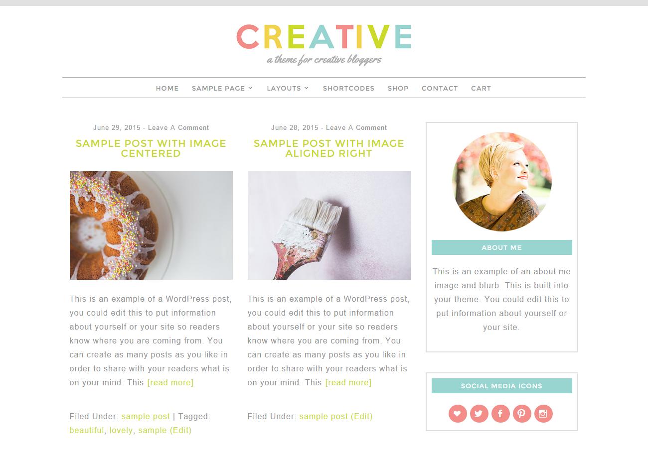 Feminine WordPress Theme - Creative