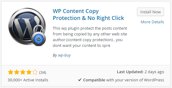 disable right click on wordpress