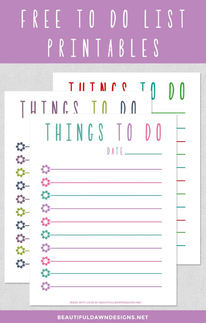 Free pretty to do list printable. This printable comes in 3 different ...