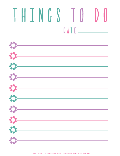 To Do List In Purple, Blue, And Pink.