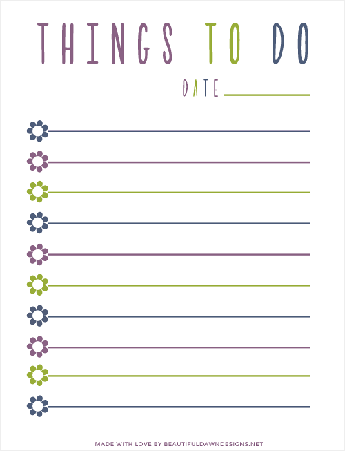 Free To Do List Printable - Beautiful Dawn Designs
