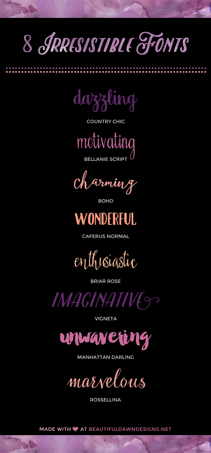 Free Dingbat Fonts - Beautiful Dawn Designs