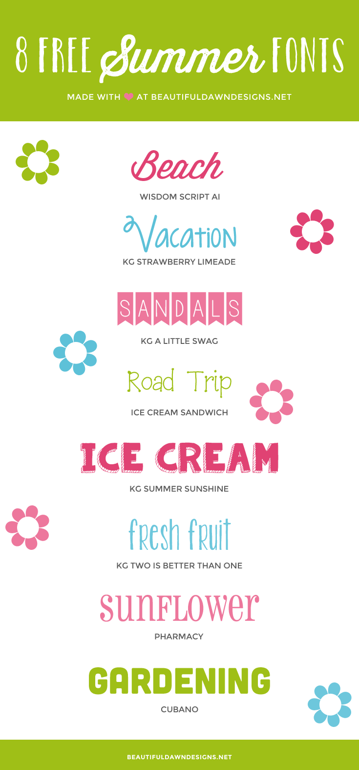 Enjoy this round up of free summer fonts. Use these fonts to jazz up your fun summer printables or other projects.