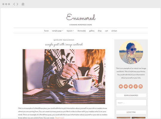 Enamored- feminine WordPress themes