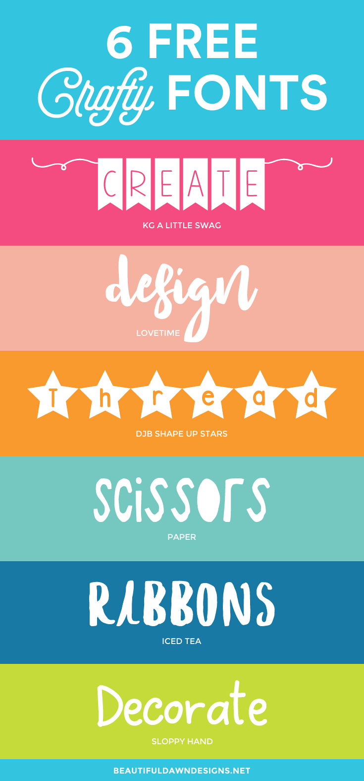 A collection of 6 free crafty fonts. Free fonts.