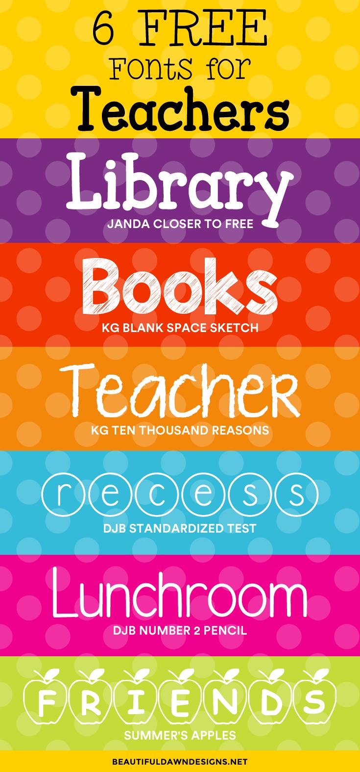 6 free fonts for teachers