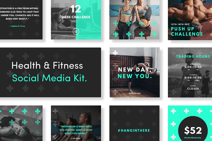10 unique social media template packs beautiful dawn designs the health and fitness social media kit contains 10 instagram and 10 facebook templates the templates are fully customizable and easy to edit maxwellsz
