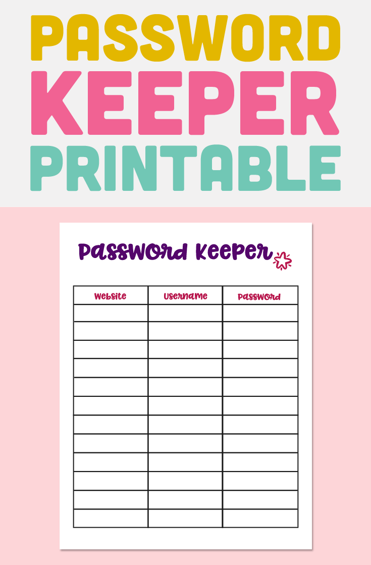 photo about Password Printable identified as Pword Keeper Printable