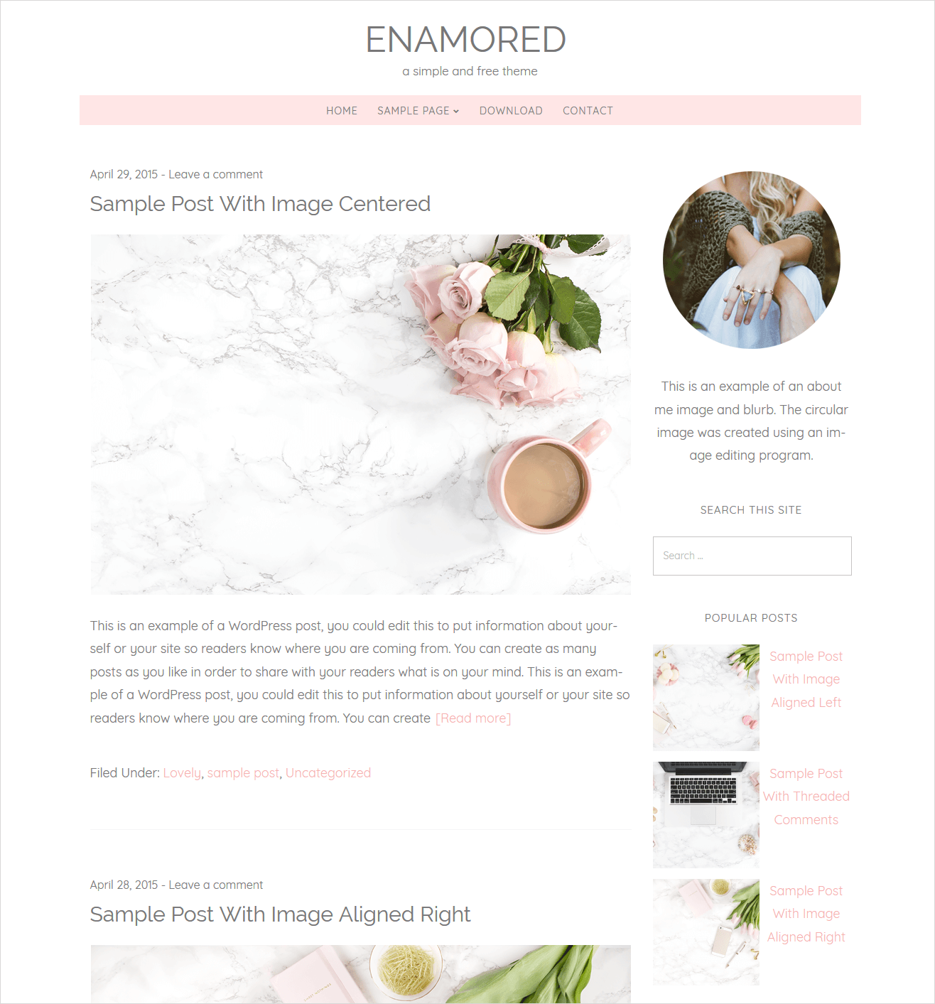enamored free wordpress theme