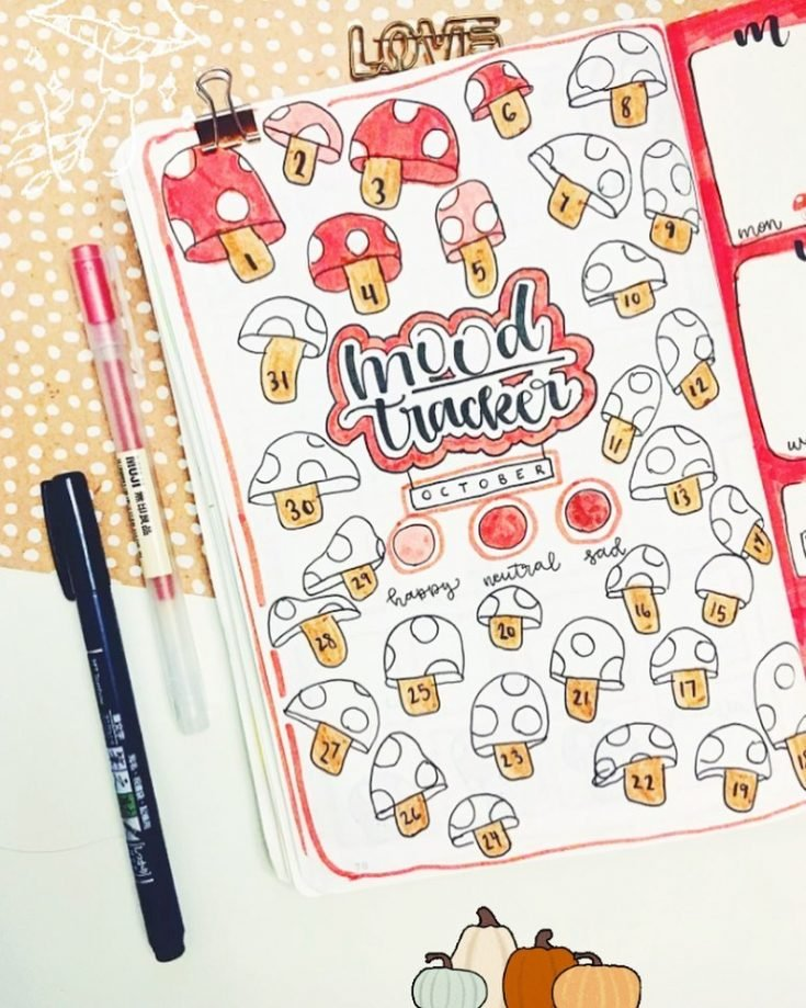 RED AND PINK MUSHROOMS Mood tracker 14