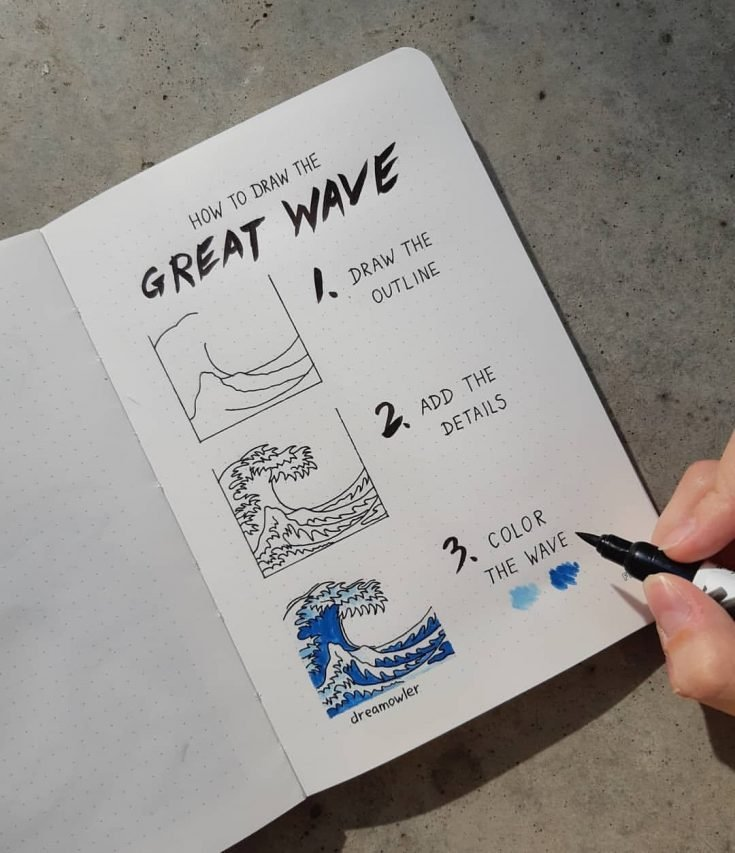 HOW TO DRAW THE GREAT WAVE