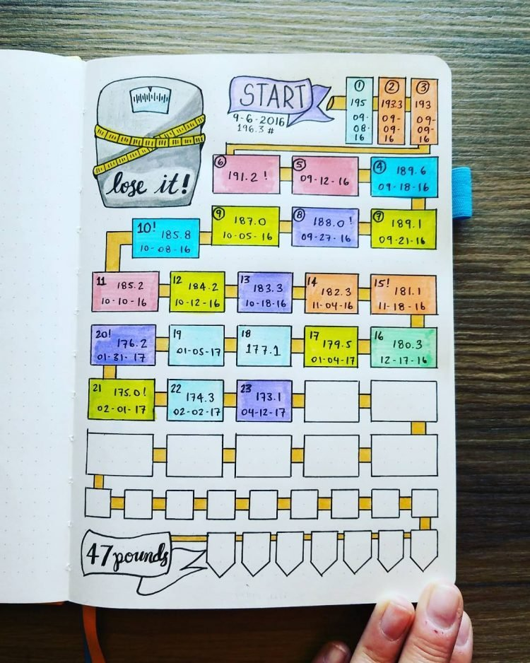 Bullet journal weight-loss tracker