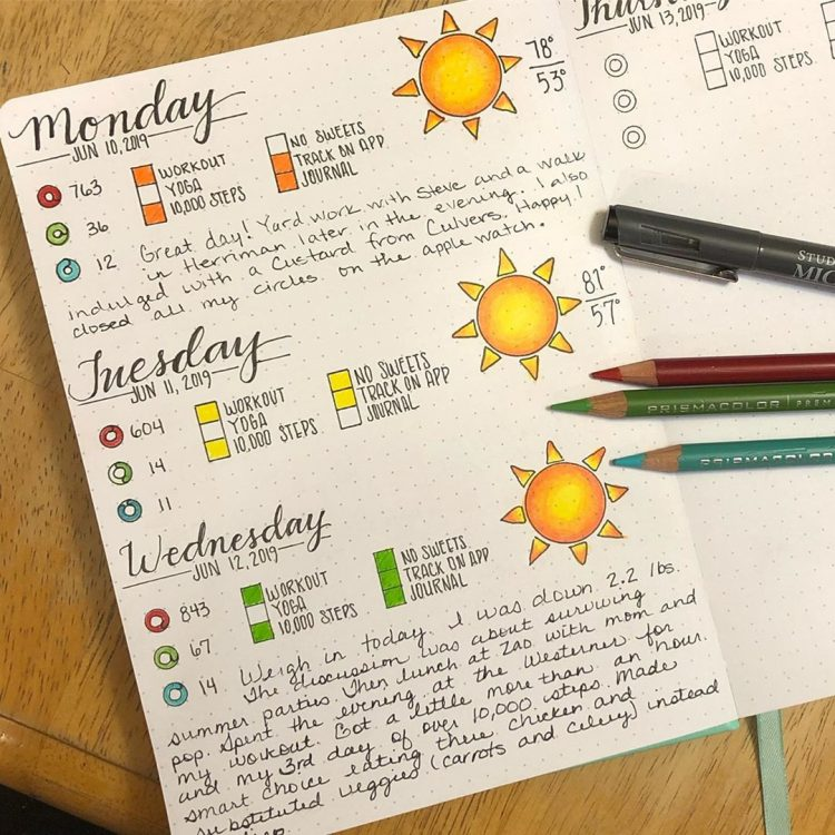 Bujo fitness and weather tracker