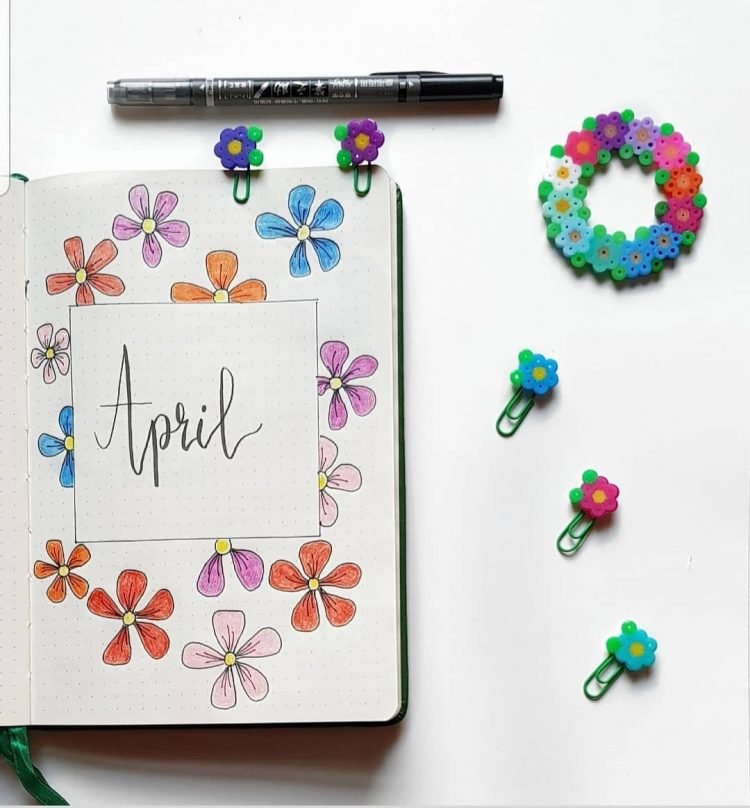april flowers bullet journal