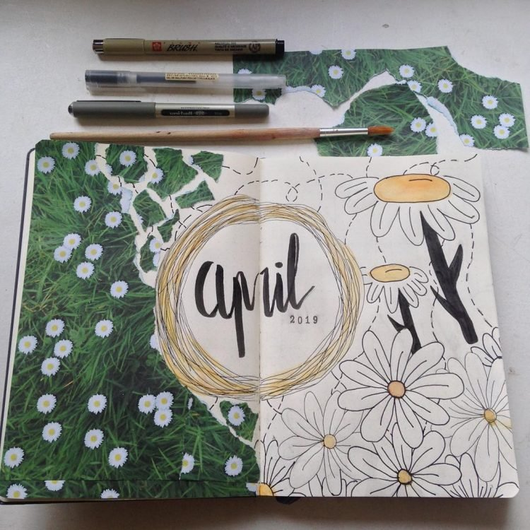 april spring bullet journal spread