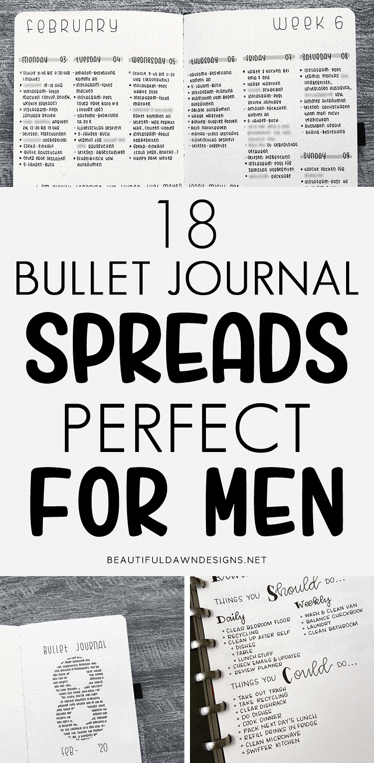 18 Bullet Journal Spreads Perfect for Men