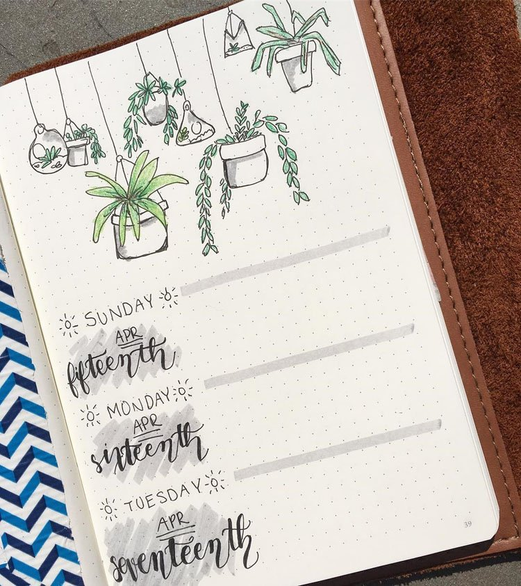 WEEKLY PLANNER WITH HANGING PLANTS