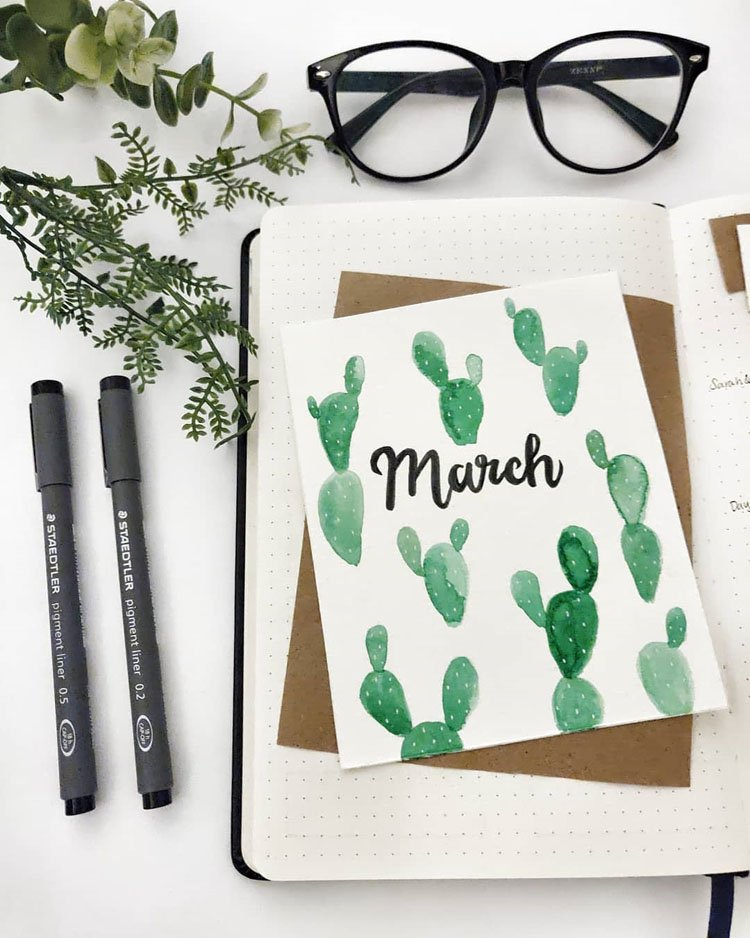 MARCH COVER WITH CACTUS WATERCOLORS