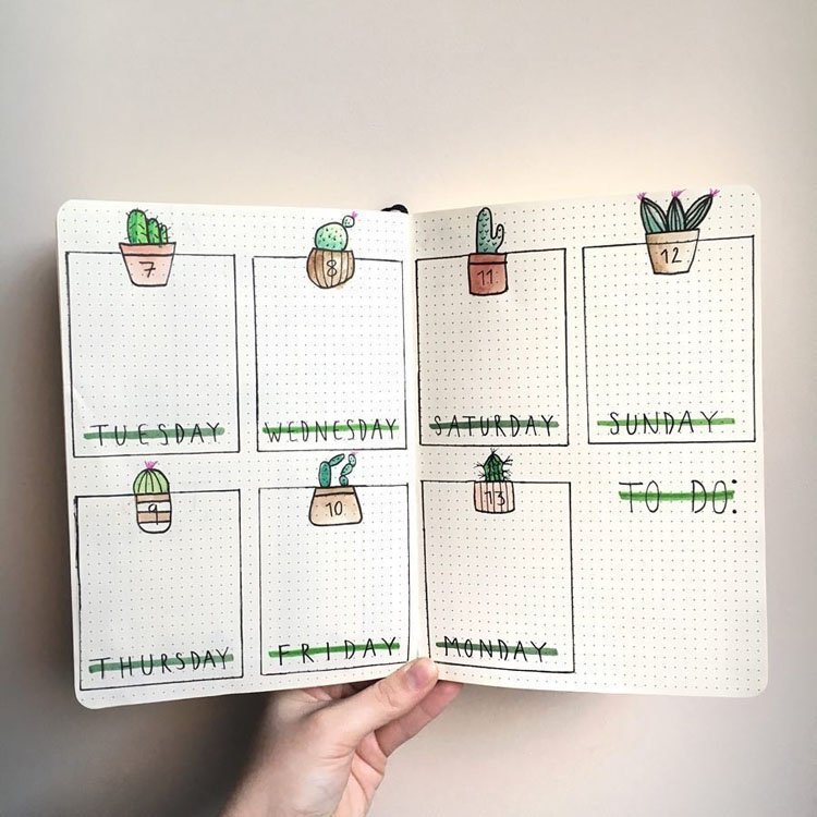WEEKLY PLANNER WITH CACTI HEADERS