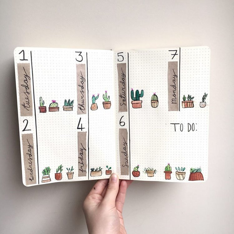 WEEKLY PLANNER WITH CACTI DRAWINGS