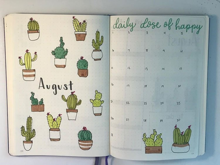 AUGUST CACTI COVER AND CALENDAR