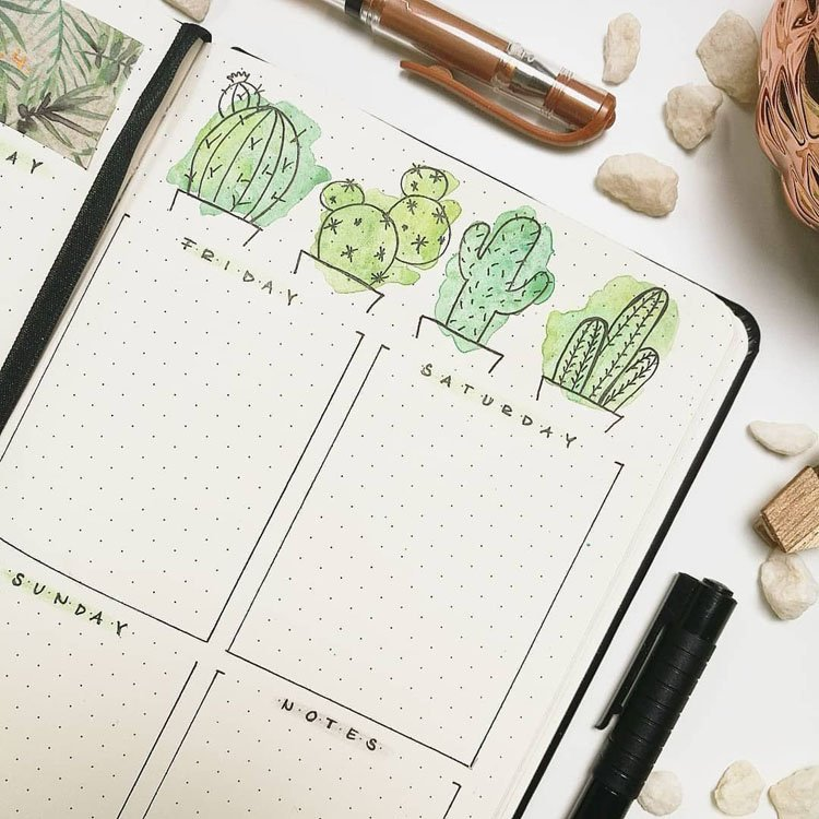WEEKLY CALENDAR WITH CACTI BANNER