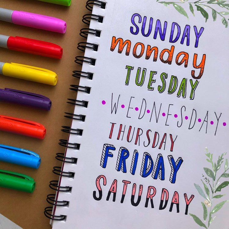 day of the week bullet journal headers