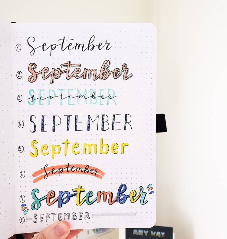 september bullet journal headers
