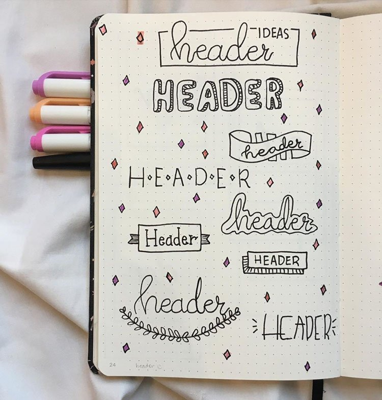 bullet journal header ideas