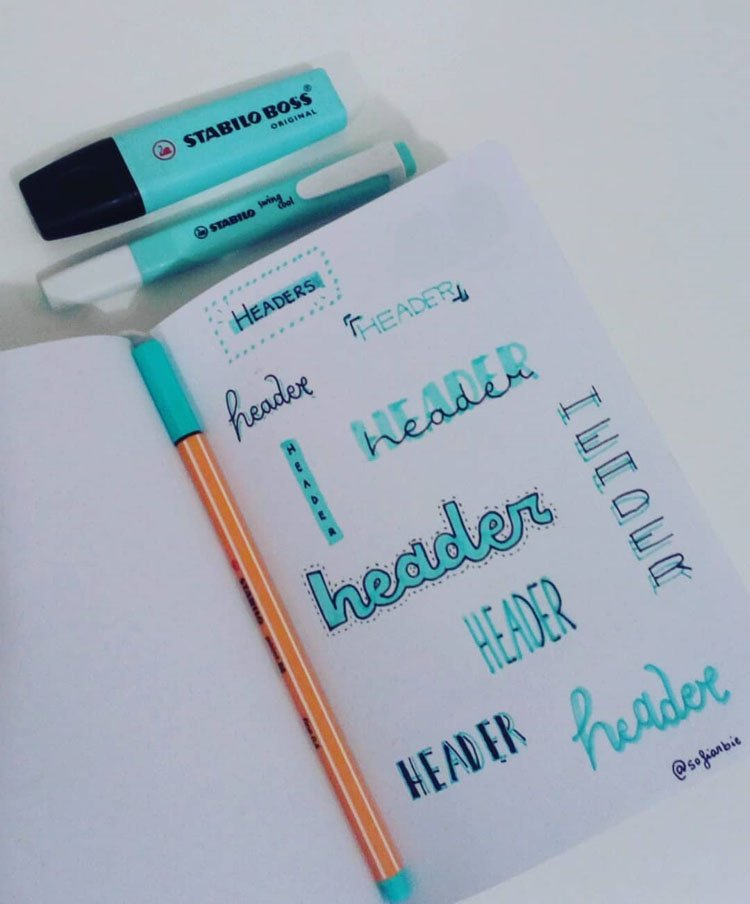 blue bullet journal headers