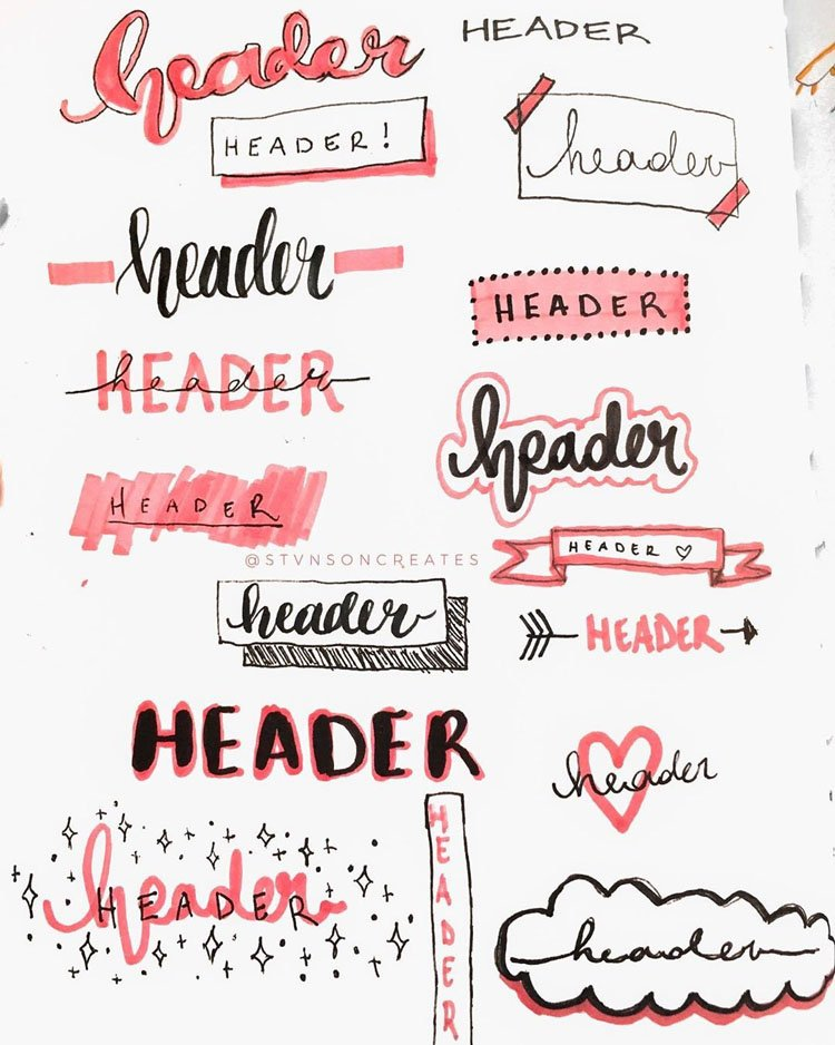 pink bullet journal headers