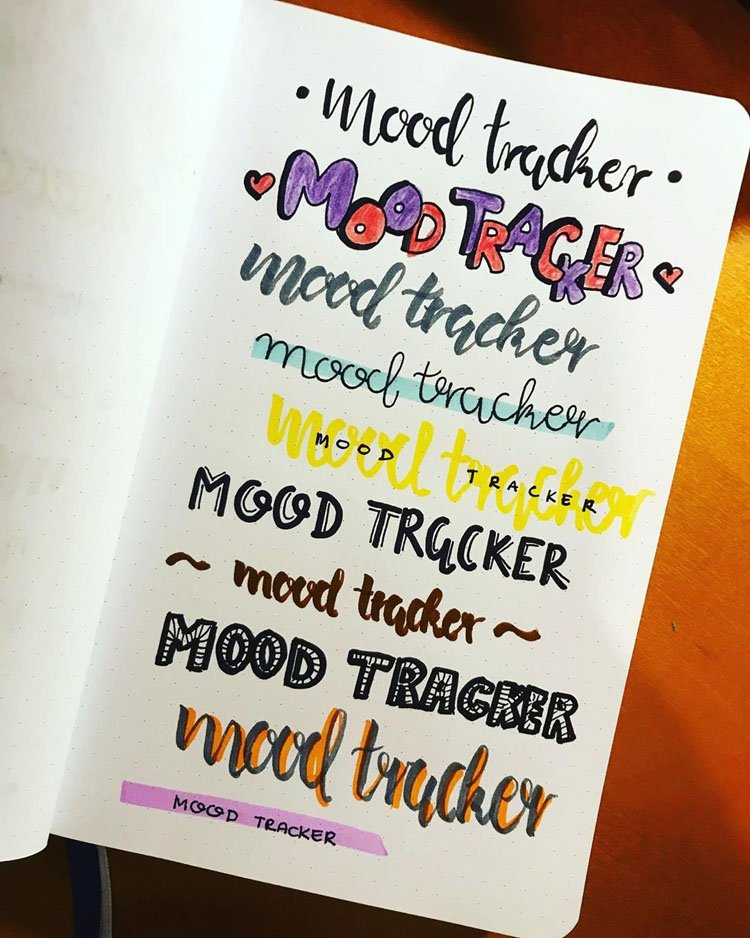 bullet journal mood tracker headers