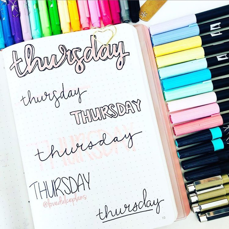 thursday bullet journal headers