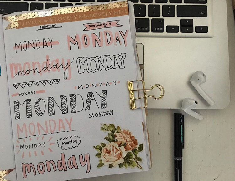 monday bullet journal headers