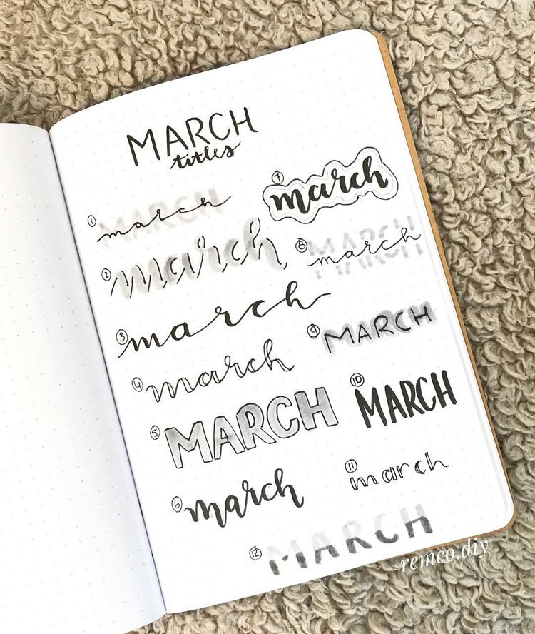 march bullet journal headers