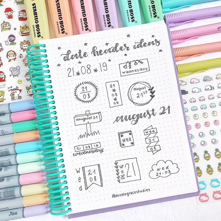 august bullet journal headers