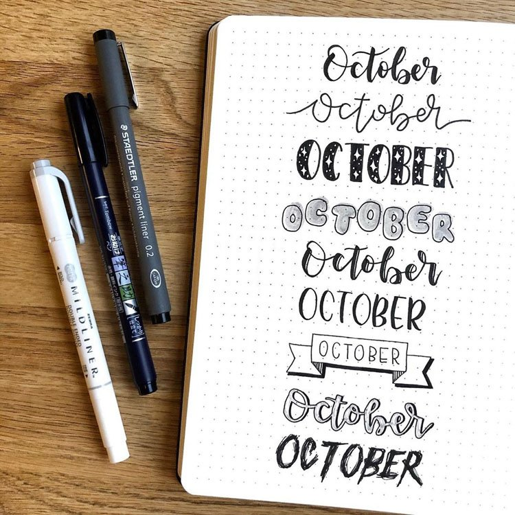 october bullet journal headers
