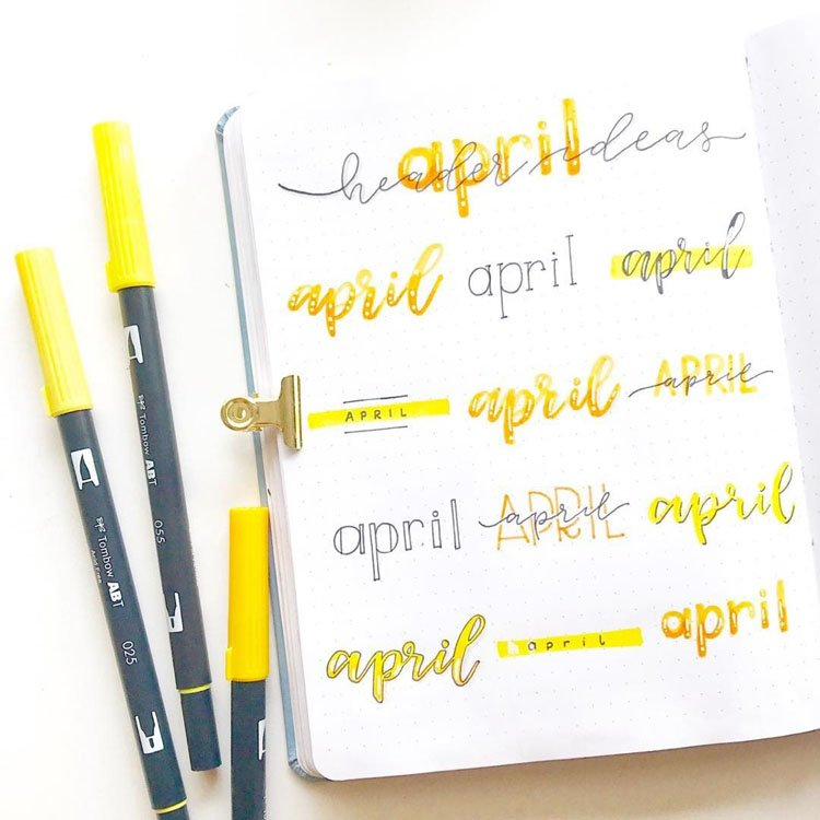 april bullet journal headers