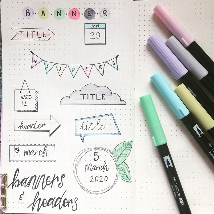 bullet journal titles and banners