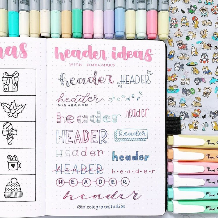pastel bullet journal headers
