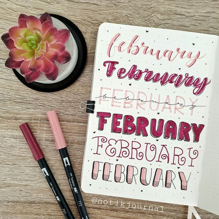 february bullet journal headers