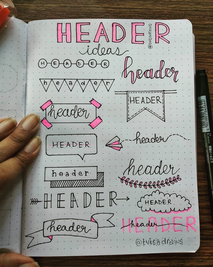 bullet journal header and banner ideas