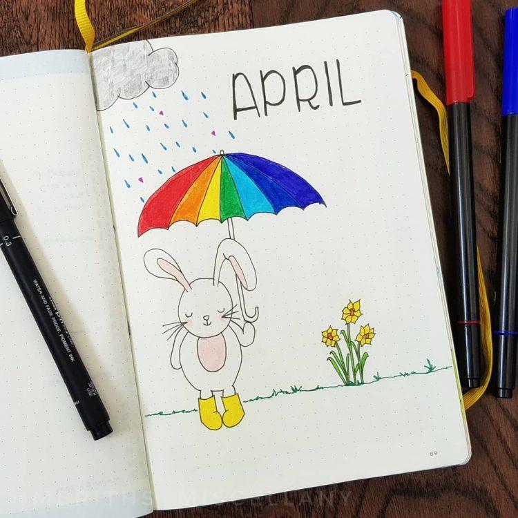 april showers bullet journal spread bunny rabbit
