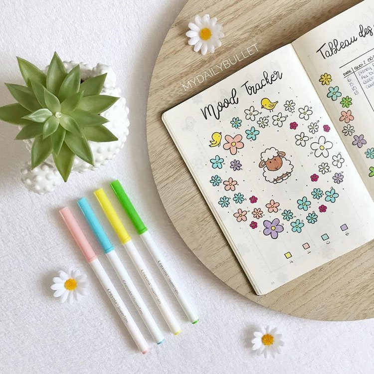 Mood tracker with flowers and sheep