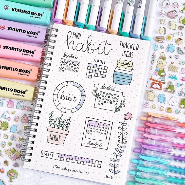 Habit tracker with a spring theme